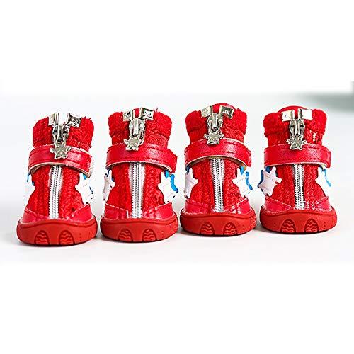 FADJIKKP 4 Pack, Hund Haustier Schuhe, justierbare magischer Griff und Reißverschluss, wasserdicht und atmungsaktiv, geeignet for kleine Hunde wie Teddy (Color : A, Size : 4)
