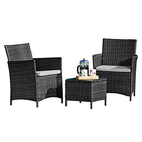 Thompson & Morgan Garden Bistro Set Rattan Furniture Outdoor Table & Chairs with Machine Washable Cushions (Grey)
