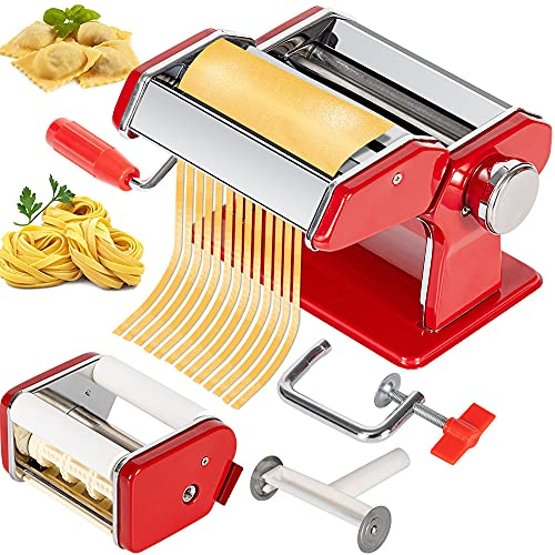 easy pasta doughs CHEFLY Pasta & Ravioli Maker Set All in one 9 Thickness Settings for Fresh Homemade Lasagne Fettuccine Spaghetti Dough Roller Press Cutter Noodle Making Machine Red P1802-R