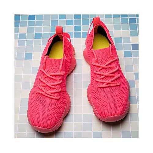 HaoLin Zapatos para Correr para Mujer Zapatillas de Deporte para Mujer Cojín de Aire Malla Ligero Transpirable Gimnasio Jogging Caminar Tenis,Red-43