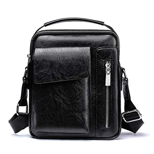Schultertasche Herren Schultertasche Leder Tasche Schultertasche Shoulder Bag für Handy für Reise, Wandern und Outdoor-Sport, Herren, Schwarze Umhängetasche für Herren, S