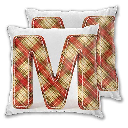 Fundas de almohada decorativas de 2 piezas coloridas con letras mayúsculas de tela con diseño de puntadas estampadas, decoración del hogar cuadrada de 50 x 50 cm
