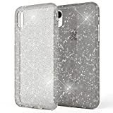NALIA Glitter Case Compatible with iPhone XR, Ultra-Thin Shiny Protective Silicone Back-Cover Rubber Skin, Sparkle Shock-Proof Soft Slim Smart-Phone Bumper, Rugged Protector Etui, Color:Black