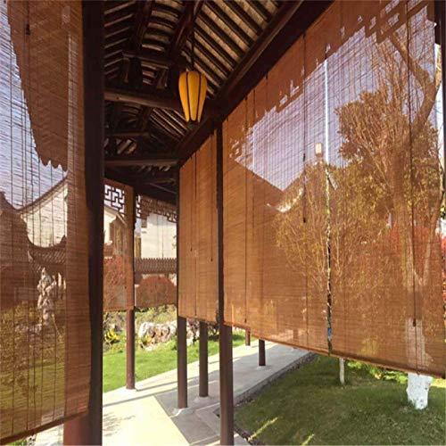 NMBC Protección de Privacidad Estores de Bambú Japonés Carbonización Persianas Enrollables De Bambú 60% Sombreado con Elevador Rollo Bambú Ventanas para Puerta de ventana-55×200cm