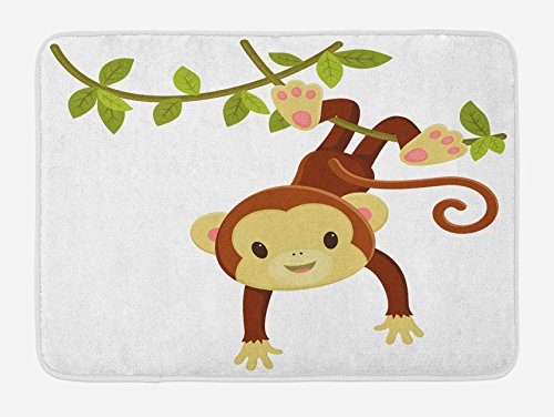 "Ambesonne Nursery Bath Mat, Cartoon Monkey Hanging on Liana Playful Safari Character Cartoon Mascot, Plush Bathroom Decor Mat with Non Slip Backing, 29.5"" X 17.5"", Brown Green"