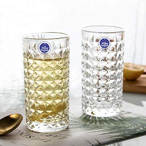 Happy Penguin's Crystal Diamond Design Water Drinking Glasses Set of 6 Pcs , 315 ML
