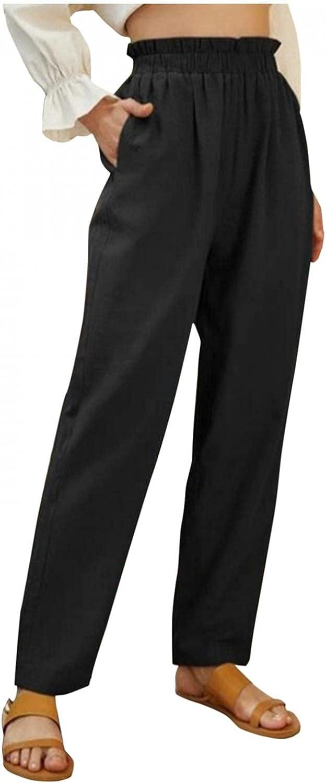 FUNEY Women's Work Pants Casual Pockets Cotton Linen Wide Leg Trousers Loose Elastic Waist Capris High Waist Pencil Pants