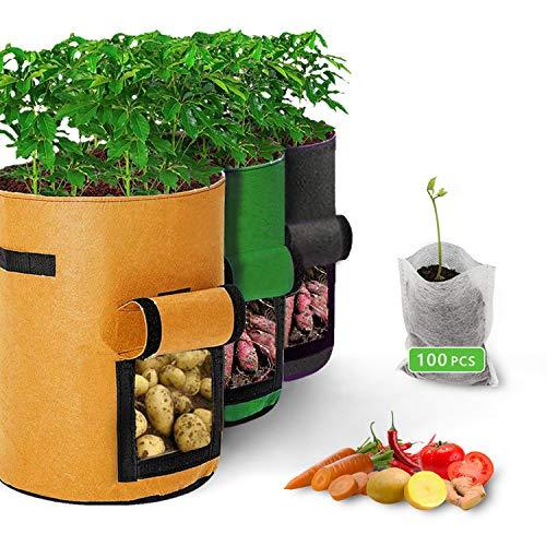 51OoDmmjcJL Vegetables Grow Bags with Window (3 Pack + 100Pcs Seedling Bags)