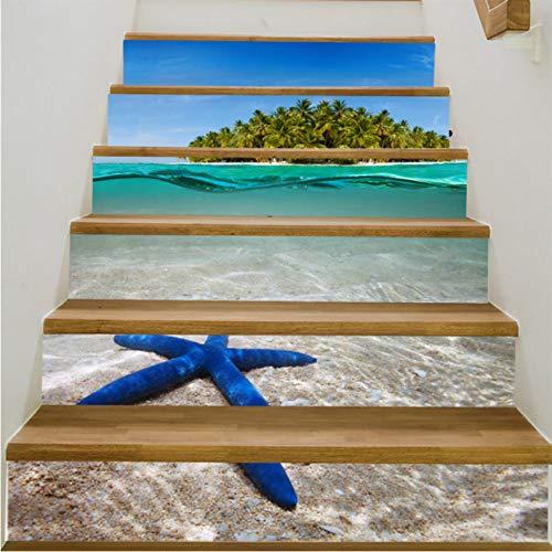 Pegatinas de escaleras Azul Estrella De Mar 6 Unids Árabe Estilo Azulejo Escaleras Pegatinas Corredor Escaleras Escaleras Decoradas Piso Pegar Pvc Pegatinas De Pared A Prueba De Agua: Amazon.es: Bricolaje y herramientas