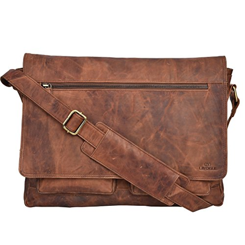 Leather Messenger Bag for Men & Women 14inch laptop Bag for Travel College Work - Handmade by LEVOGUE (Cognac Vintage)