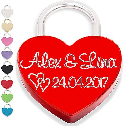 Liebesschloss Herzschloss mit persönlicher Gravur und Schlüssel Geschenk Jahrestag Valentistag rot