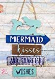Ebros Vintage Nautical Surfing Teal Mermaid Wall Decor Sign Mermaid Kisses And Starfish Wishes Decorative Plaque 13