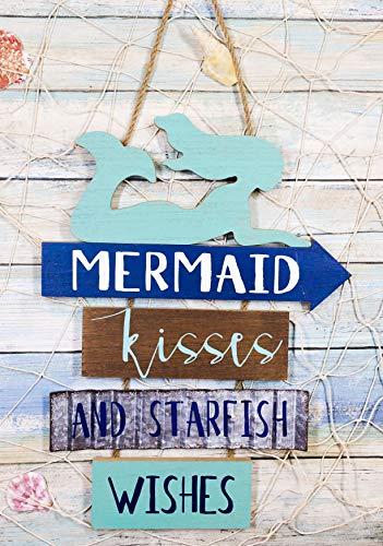 Ebros Vintage Nautical Surfing Teal Mermaid Wall Decor Sign Mermaid Kisses And Starfish Wishes Decorative Plaque 13'Tall Fantasy Coastal Beach Marine Nursery Kids Bedroom Kitchen Walls Door Signs