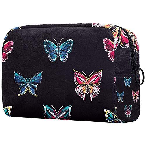 Broderie Et Strass Papillon Tropical Petit Sac de Maquillage pour Sac à Main Voyage Maquillage Pochette Mini Sac de Cosmétique pour Femme