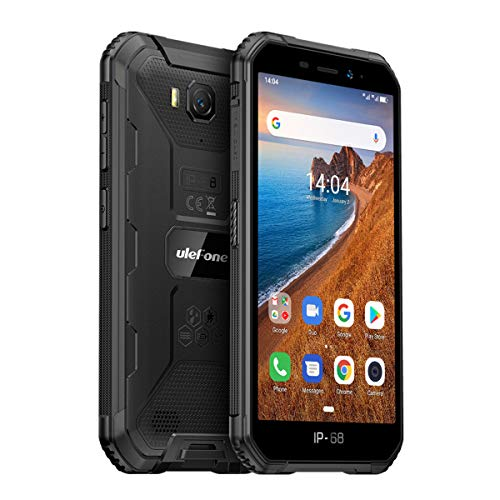 Rugged Phones Unlocked, Ulefone Armor X6 (2020) IP68/69K Dustproof Waterproof Smartphone, Global 3G Dual SIM, Android 9.0, 5.0 inches, 8MP + 5MP, WiFi, Bluetooth, GPS, Compass, US Version (Black)