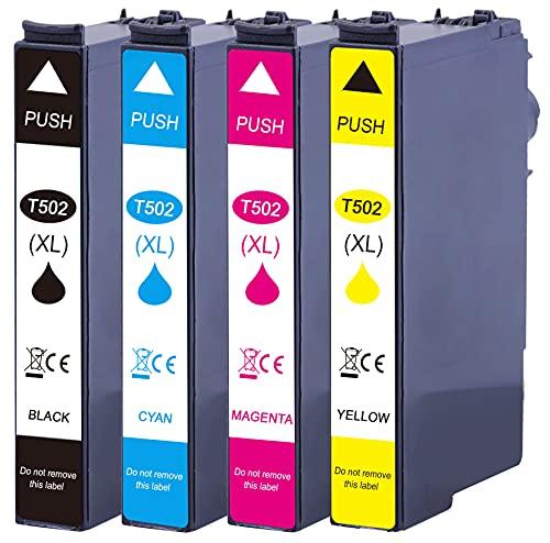 502 XL - Cartuchos de tinta compatibles con Epson 502XL para Epson Expression Home XP-5100 XP-5105 XP5100 XP5105 Workforce WF-2860DWF WF-2865DWF WF2860 WF2865