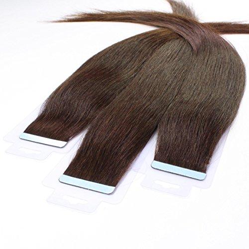 hair2heart 10 x 2.5g Tape In Echthaar Extensions, 60cm - glatt - #2 dunkelbraun