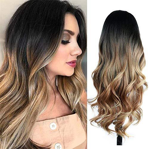 peluca,Peluca de pelo lacio largo gradual europeo y americano, peluca de fibra qumica rosa de seda de alta temperatura red rosa