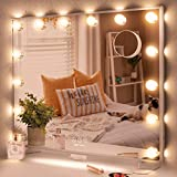 Hollywood Makeup Mirror with Lights, Large Vanity Mirror with 14pcs Dimmable LED Bulbs and Detachable 10X Magnification Spot Cosmetic Mirror for Dressing Table, Wall Mounted, USB Outlet