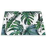 Manteles individuales de mesa resistentes al calor, lavables y de PVC, con hojas de palma, de hibisco, color rosa coral