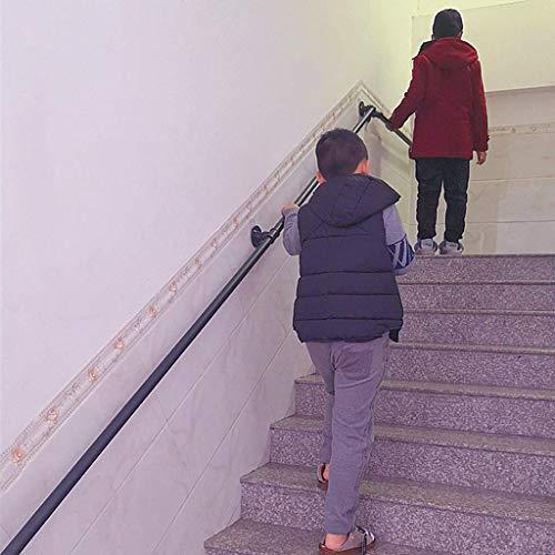 LXDDP Treppengeländer Handlauf Treppenhalter Treppengeländer Halter Handlauf Treppen für Innen- und Außentreppen Handlauf Komplettset Schwarzes Metall Schmiedeeisen