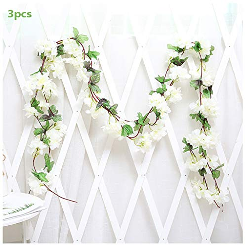 3Pcs Artificial Cherry Blossoms Hanging Rattan Garland Wreath Fresh Lovely of Fake Flower Plant Flower Vine Leaf for Home Party Garden Fence Christmas Wedding Decoration 220cm,C