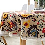 AMZALI Vintage Bohemian Pattern Decorative Macrame Lace Tablecloth Washable Dinner Picnic Cotton Linen Fabric Decorative Table Top Cover ( Round 60 Inch )…