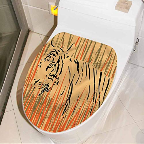 Bathroom Decal Africa, Africa Tiger Jungle Funny Toilet seat Vinyl Decal Sticker 3D Art Home Decor 17 x 21 Inch