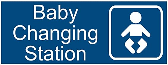 New Baby Changing Station Sign, 8 x 3 in with English and Symbol, Blue for Men, Women, Unisex