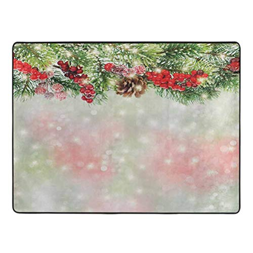 Christmas Modern Area Rug Evergreen Fir Branches with Red Ripe Holly Berries Blurred Backdrop Garland Home Decor Mats 4' x 5' Red Green Brown