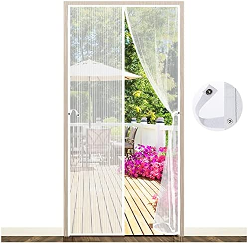 Magnetic Fly Screen Door, EGNBU Anti Mosquito Fly Curtain Door Screens Nets, Top-to-Bottom Seal Snaps Shut Automatically, Keep Fresh Air in&Bugs Out, Install Without Drilling (with Buttons 90x210CM) 90 x 210CM White