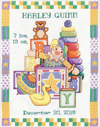 "Toys Sampler Birth Record Counted Cross Stitch Kit-11""X14"" 14 Count"