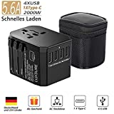 Reiseadapter Reisestecker-Luxsure Universal Travel Adapter Weltweit Steckenadapter USB Stecker Steckdose Adapter 4 USB Type C für 233 Ländern Europa UK Australien USA China