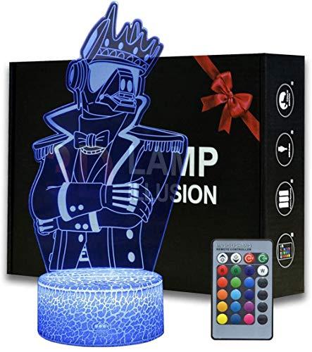 Game Series Battle Royale 3D Ilusión noche luz ABS base acrílico tablero con control Romete lámpara de mesa decoración hogar y habitación (MY36-Yond3r)