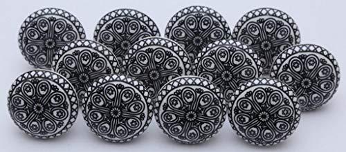 Ajuny Juego de 10 pomos de cerámica indios hechos a mano para aparador, cajones, cocina, armarios de baño