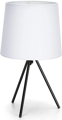 Aigostar - Lampe de Table Minimaliste, Culot fin E14, Lampe de Chevet Décorative avec une Base Métallique à 3 Pieds et Abat-jour Blanc, Idéale Décoration Chambre Salon