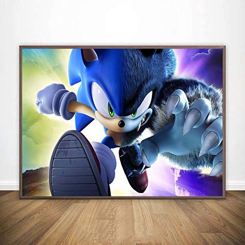 KWzEQ Sonic Poster neues blaues Glitzer-Graffiti-Wandbild auf Leinwandplakat Kinderzimmerdekoration,Rahmenlose Malerei,30X45cm