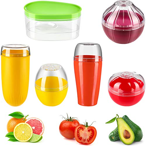 6 Pieces Fruit and Vegetable Storage Containers Reusable Plastic Refrigerator Box Storage Bowls Saver Holder Keeper for Corn, Radish, Tomato, Lemon, Onion and Avocado