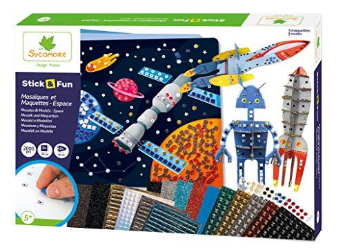 Sycomore CRE7021 Selbstklebende Mosaik-und Modellbausätze für Kinder – 3 Bilder und 3 animierte Modelle – Platz – kreative Freizeit – Stick & Fun – ab 5 Jahren