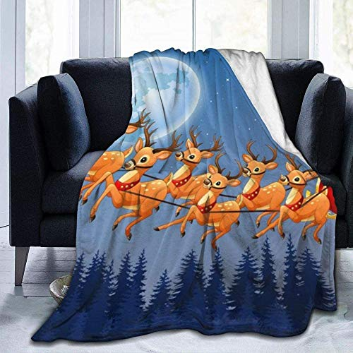 Mantas Papá Noel sobre El Bosque Manta De Sofá De Microfibra para Sillas/Cama/Oficina Cama Sólida Cálida Y Esponjosa Súper Mullida para Niños Adultos Toda La Temporada 80X60 Inch