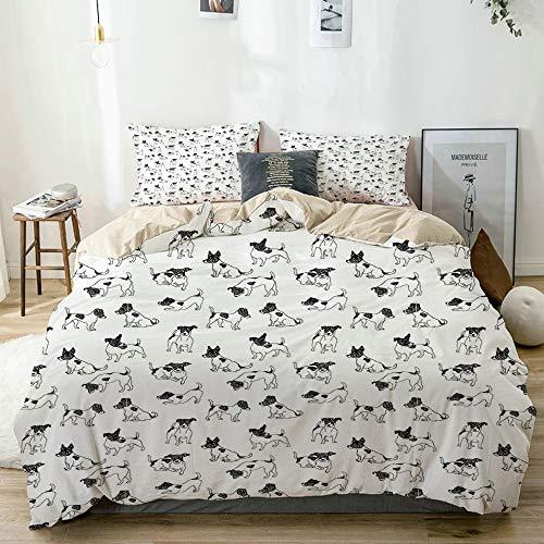 JISMUCI beige Duvet Cover Set,Sketch Style Hand Drawn Jack Russell Terrier Doodles in Various Stances Purebred,Microfibre Duvet Cover Set 200x200cm with 2 Pillowcase 50x80cm