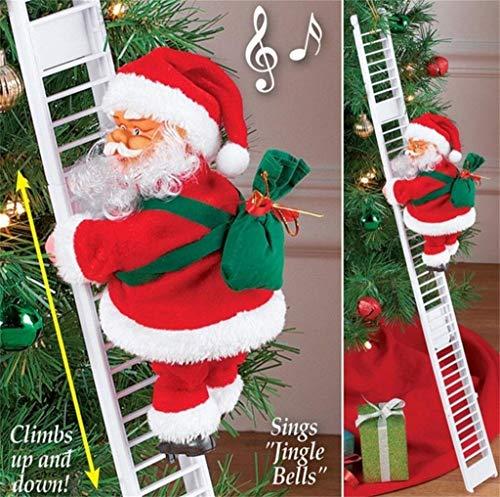 Elektrischer singender kletternder Weihnachtsmann auf Leiter mit Geschenkbeutel, Weihnachtsbaumschmuck, Dekoration, Plüschpuppe, Spielzeug für Weihnachten, Party, Zuhause, Tür, Wanddekoration