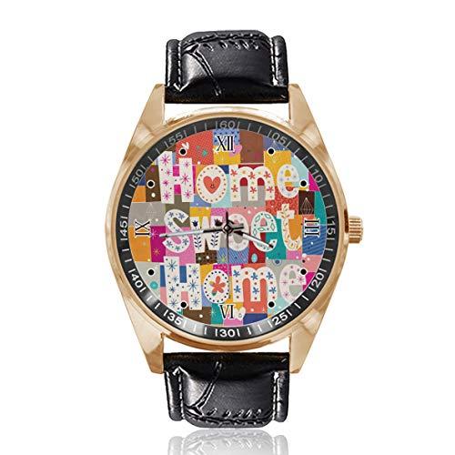 Sweet Home Puzzle personalizado para hombre reloj de pulsera impermeable de acero inoxidable reloj de cuarzo con correa de cuero reemplazable