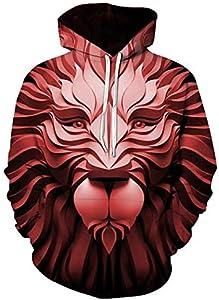 zysymx Wolf 3D Personalidad con Capucha para Hombres Harajuku Marca Sudadera con Capucha Ropa de diseñador Otoño Invierno Sudadera