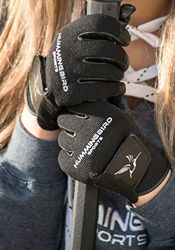Hummingbird Sports Girls Genuine Leather Lacrosse and Field Hockey Gloves (Black, Small)