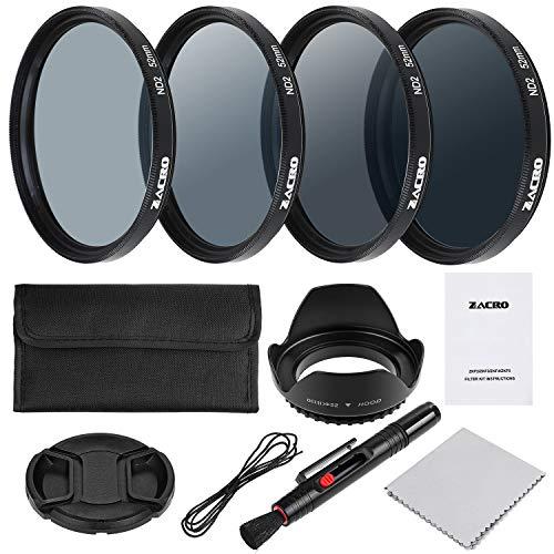Zacro 52mm Objektiv Filter Set ND2, ND4, ND8, ND16 Kit mit Objektivstift Filtertüte Gegenlichtblende Objektivdeckel und Mikrofaser Reinigungstuch