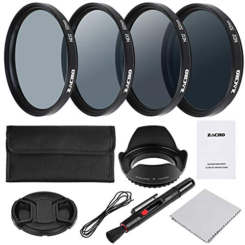 Zacro 58mm 7 en 1 Kit Filtros de Fotografía (ND2, ND4, ND8, ND16,Filtros de Accesorios) para Cámara Réflex Figital,Lapiz de Lente, Funda de Filtro, Capucha,Tapa de Lente,Paño Limpieza Incluye