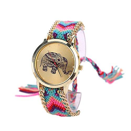 SoulSisters Armbanduhr Elefant Motiv Uhr Bunt Boho Fashion
