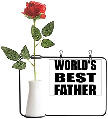 YaoX Worldâ€s Best Father Festival Quote Artificial Rose Flower Hanging Vases Decoration Bottle