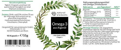 Omega 3 vegan - Premium: Mit EPA und DHA aus Algenöl (in Triglycerid-Form) - Laborgeprüft, nachhaltig und von Natur aus schadstoffarm - 90 Kapseln - 3